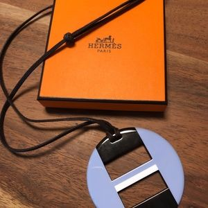 Hermes Light Blue Lacquered Buffalo Horn Necklace